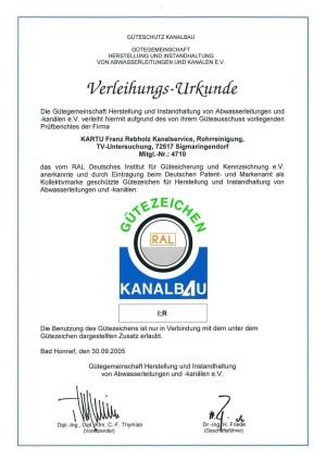 Verleihungs-Urkunde Gütezeichen